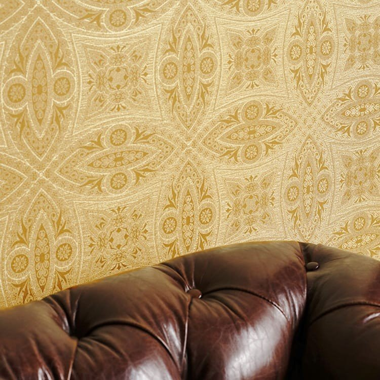 'Vintage' Geometric Wallpaper in Gold - Your 4 Walls