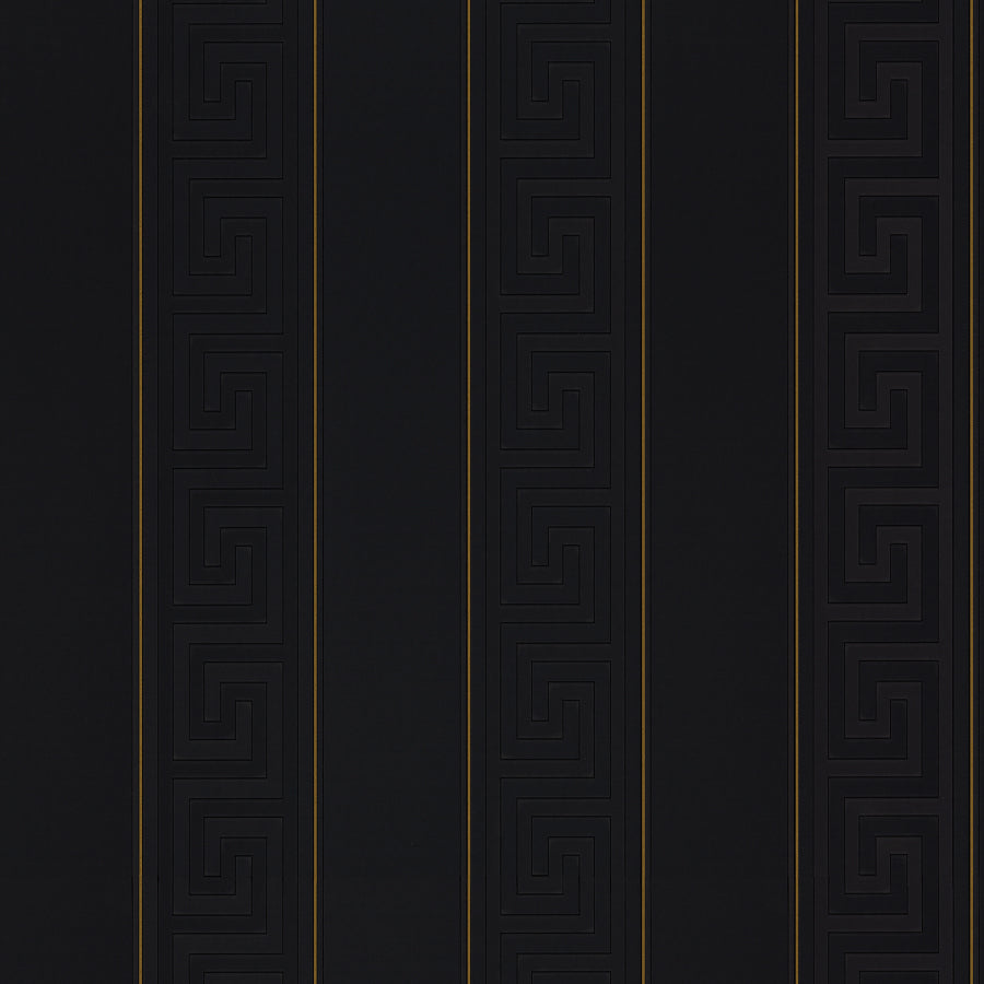 Versace Greek Key Stripe Wallpaper  | Black & Gold - Your 4 Walls