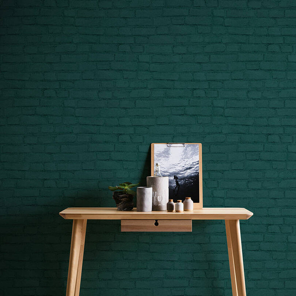 Loft Brick Effect wallpaper in Green - Your 4 Walls