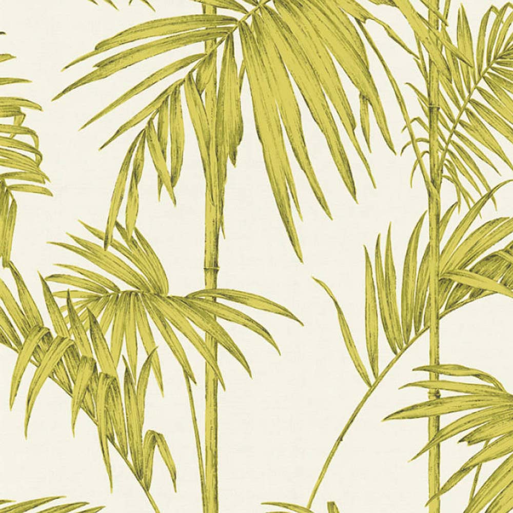 Bamboo Leaf Wallpaper in Green, Silver and Off White - Your 4 Walls