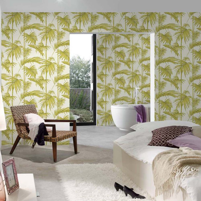 Bamboo Leaf Grass Design Wallpaper | Green, Silver & Off White