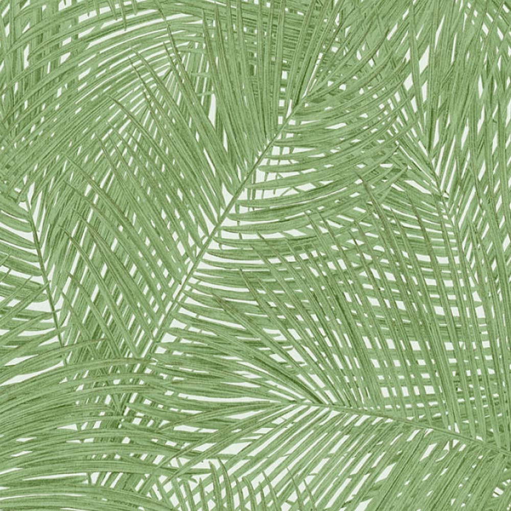 'Swaying Palm' Palm Leaf Wallpaper in Green & White - Your 4 Walls