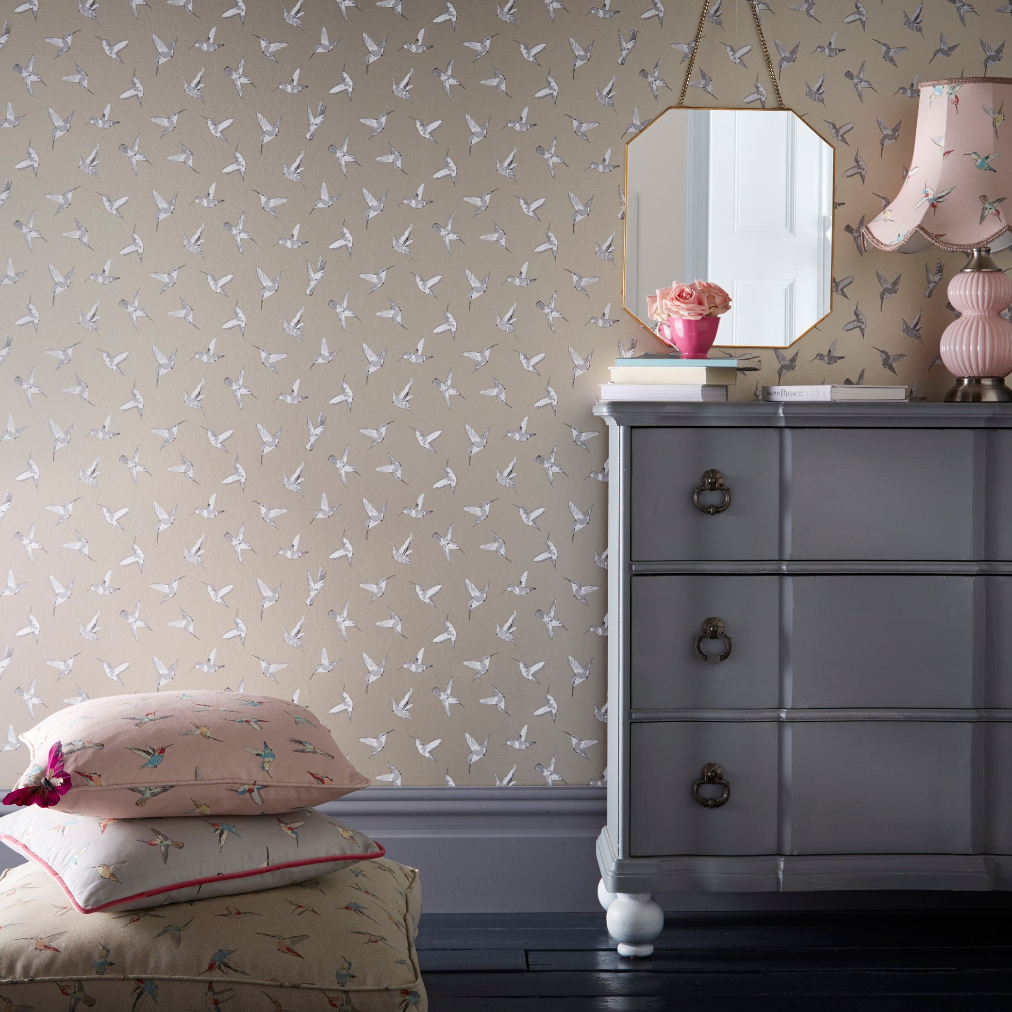 Hummingbird Oasis Designer Bird Wallpaper | Blush Pink, Gold/Silver & White