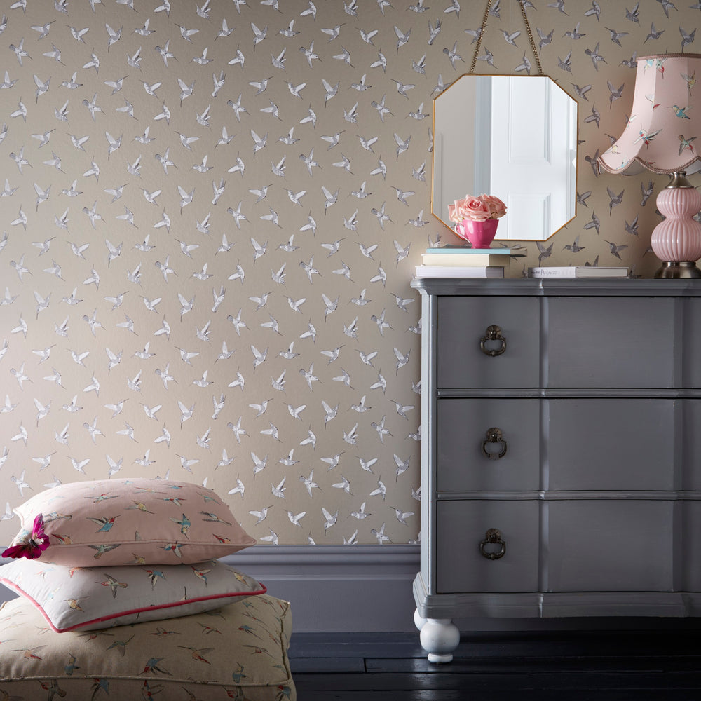 Hummingbird Oasis Designer Bird Wallpaper | Blush Pink, Gold/Silver & White - Your 4 Walls