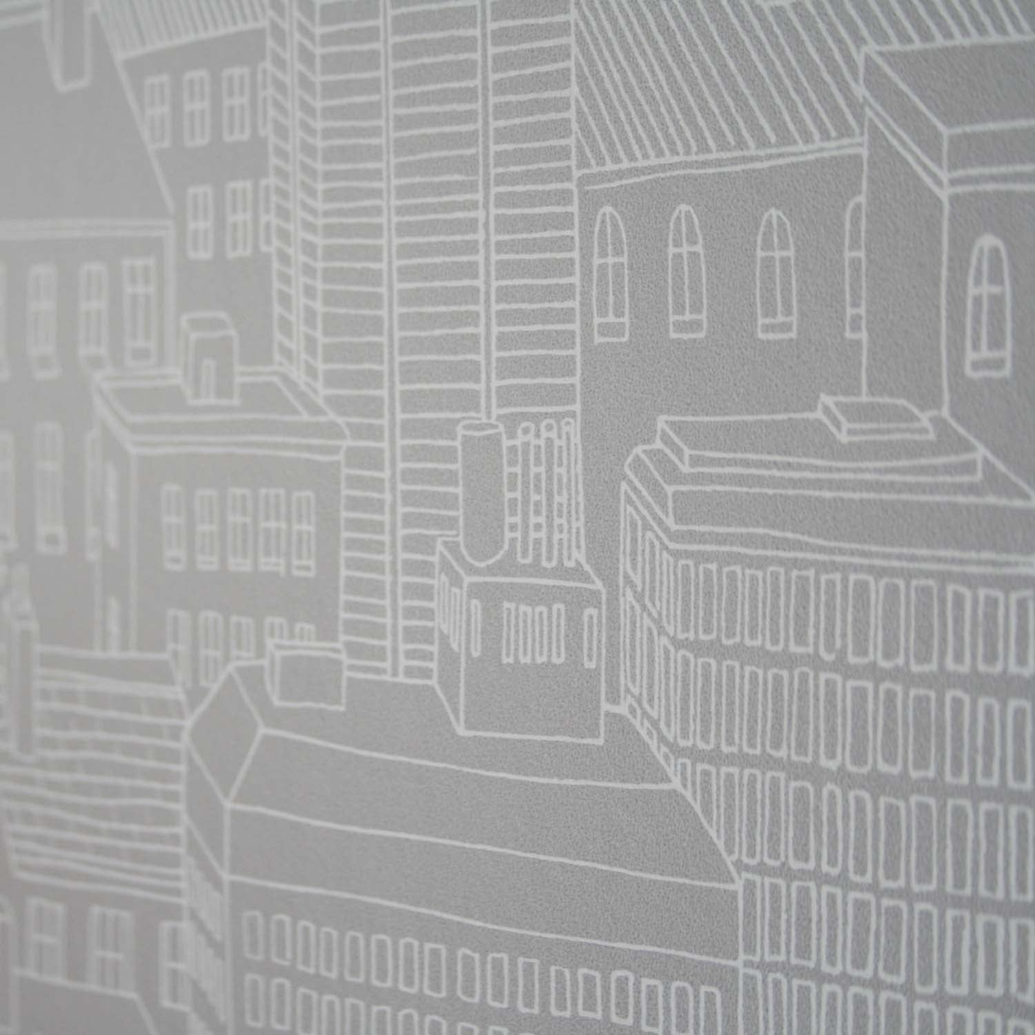 Cityscape Motif Hand Drawn Effect Wallpaper | White & Grey