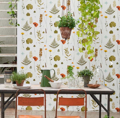 Herbarium Pressed Flower Effect Floral Wallpaper | Multi-Coloured, Orange and Green - Your 4 Walls