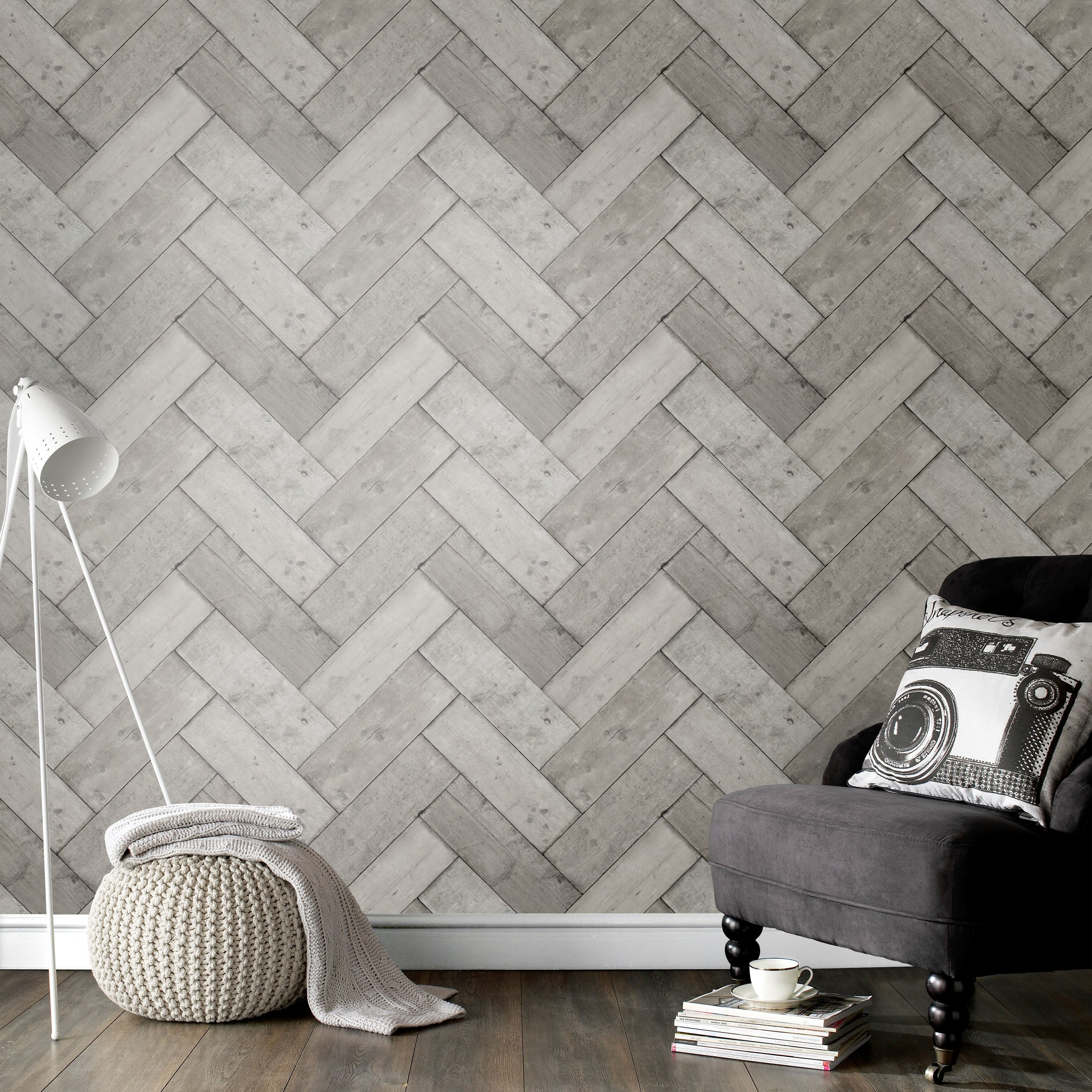 Herringbone Wood Effect Wallpaper | Grey