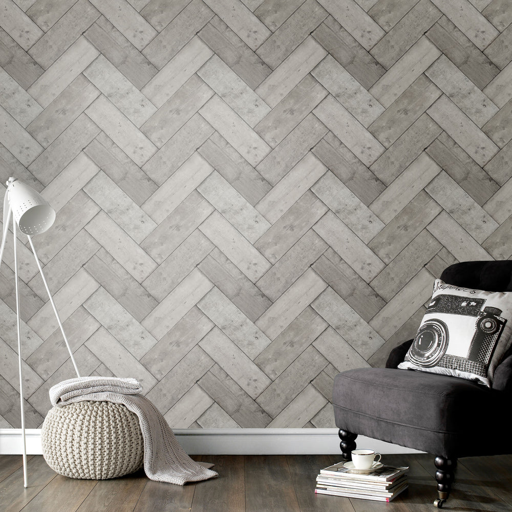 Herringbone Wood Effect Wallpaper | Grey - Your 4 Walls