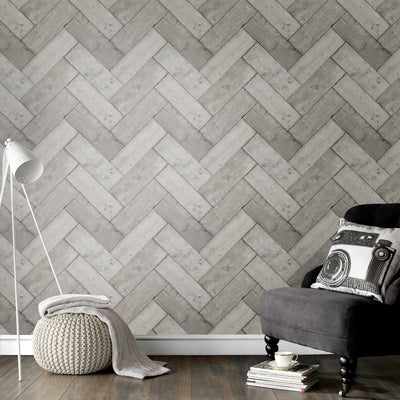Herringbone Wood Effect Wallpaper in Grey - Your 4 Walls