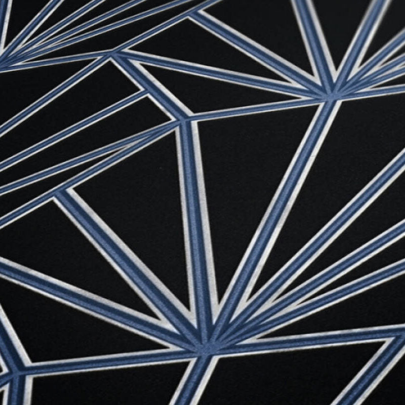 'HEX' Hexagon Ray of Sunshine design Tile Effect Wallpaper in Black & Blue - Your 4 Walls