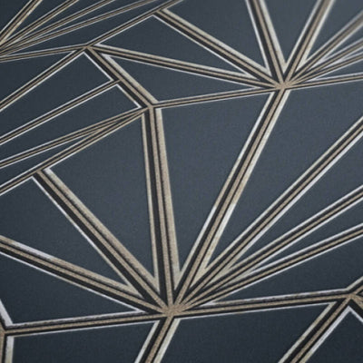 'HEX' Hexagon Ray of Sunshine design Tile Effect Wallpaper in Grey Green & Metallic - Your 4 Walls