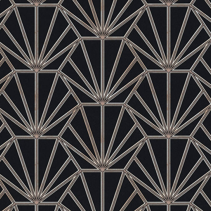'HEX' Hexagon Ray of Sunshine design Tile Effect Wallpaper in Black & Metallic - Your 4 Walls