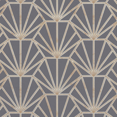 'HEX' Hexagon Ray of Sunshine design Tile Effect Wallpaper in Dark Grey & Metallic - Your 4 Walls