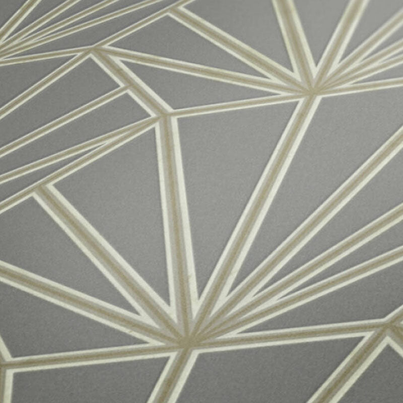 'HEX' Hexagon Ray of Sunshine design Tile Effect Wallpaper in Grey & Metallic - Your 4 Walls