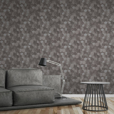 Hexagon Concrete Tile Effect Wallpaper in Grey & Silver - Your 4 Walls