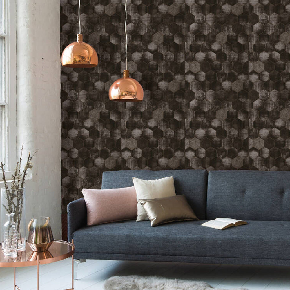 Hexagon Concrete Tile Effect Wallpaper in Grey, Black & Copper - Your 4 Walls