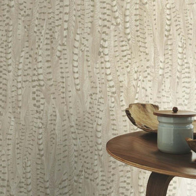 Pheasant Feather Animal Motif Wallpaper in Beige with metallic highlights - Your 4 Walls