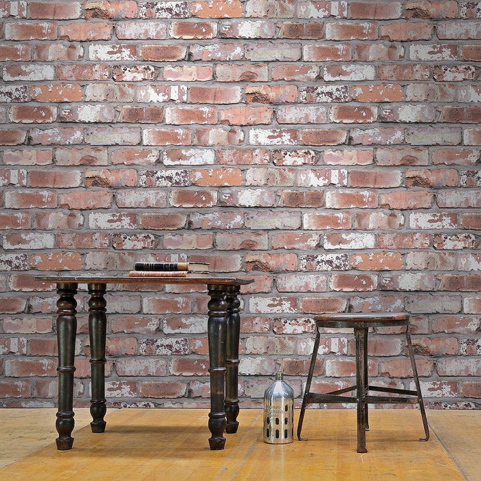 Holcombe Brick Effect Wallpaper | White/Grey & Red
