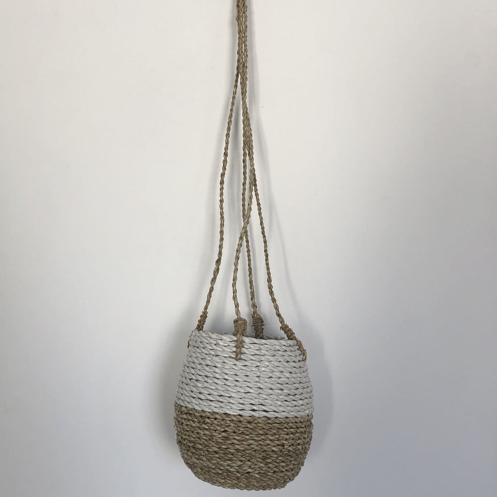 Seba Hanging Pot Basket in White & Natural - Your 4 Walls