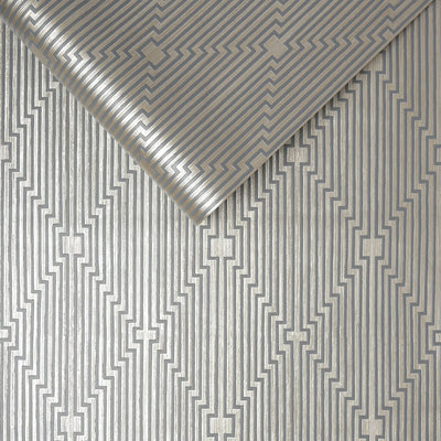 Art Deco Illusion Abstract Geometric Wallpaper in Grey Charcoal and Silver Gold - Your 4 Walls