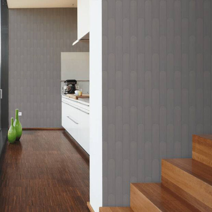 Illusion Wave Geometric Wallpaper in Dark Grey and Metallic - Your 4 Walls