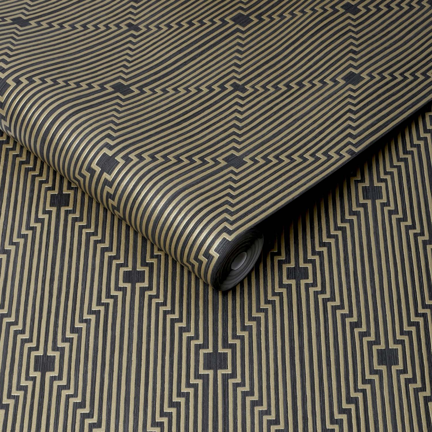 Art Deco Illusion Abstract Geometric Wallpaper | Black and Gold