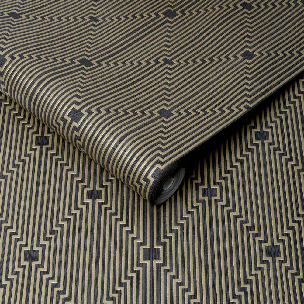 Art Deco Illusion Abstract Geometric Wallpaper In Black And Gold