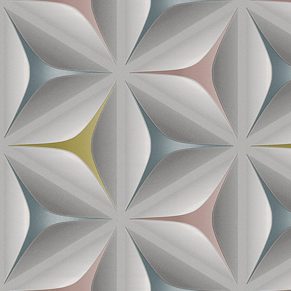 Illusion Geometric Wallpaper Grey Yellow Pink Amp Teal