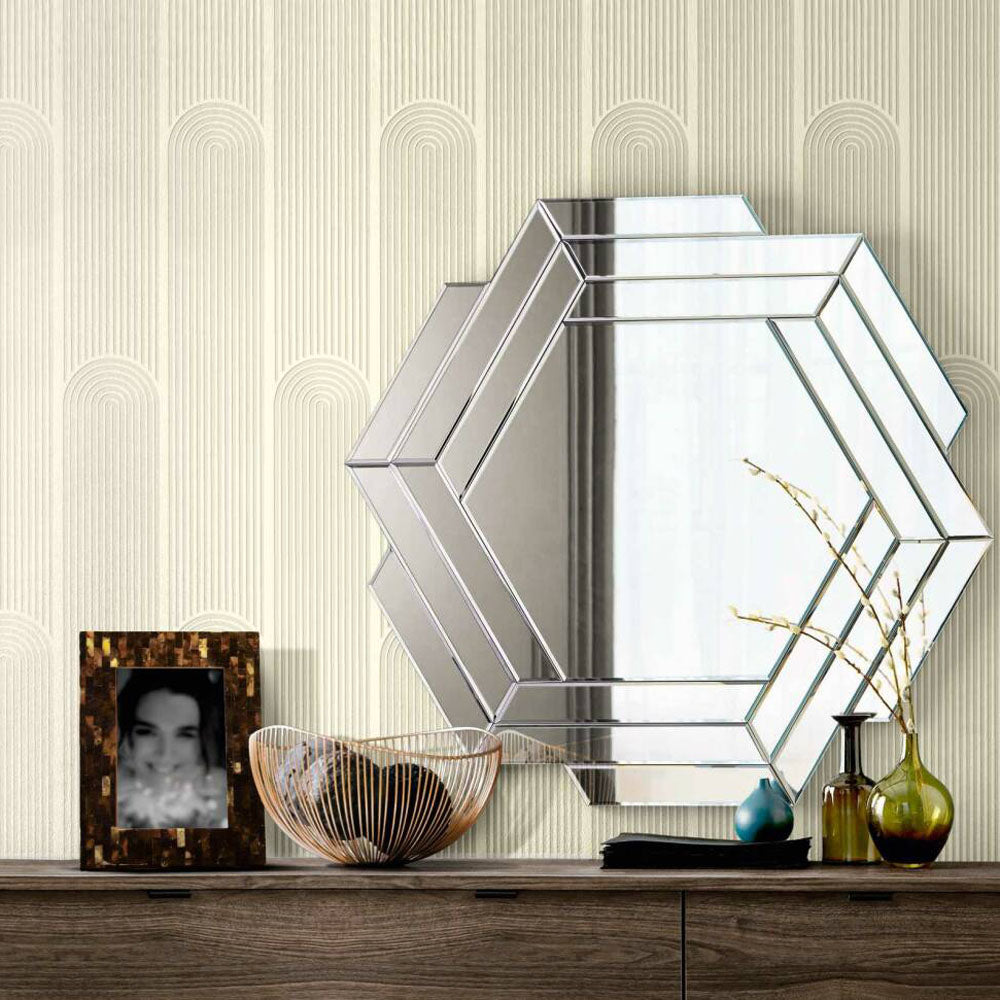 Illusion Wave Geometric Wallpaper in Off White and Metallic - Your 4 Walls