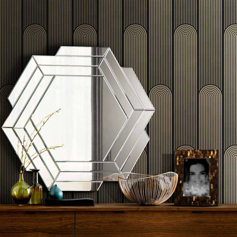 Illusion Wave Geometric Wallpaper in Black and Metallic - Your 4 Walls