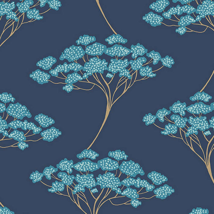 Japanese Blossom Tree | Trail Tree Trail Wallpaper in Blue & Gold
