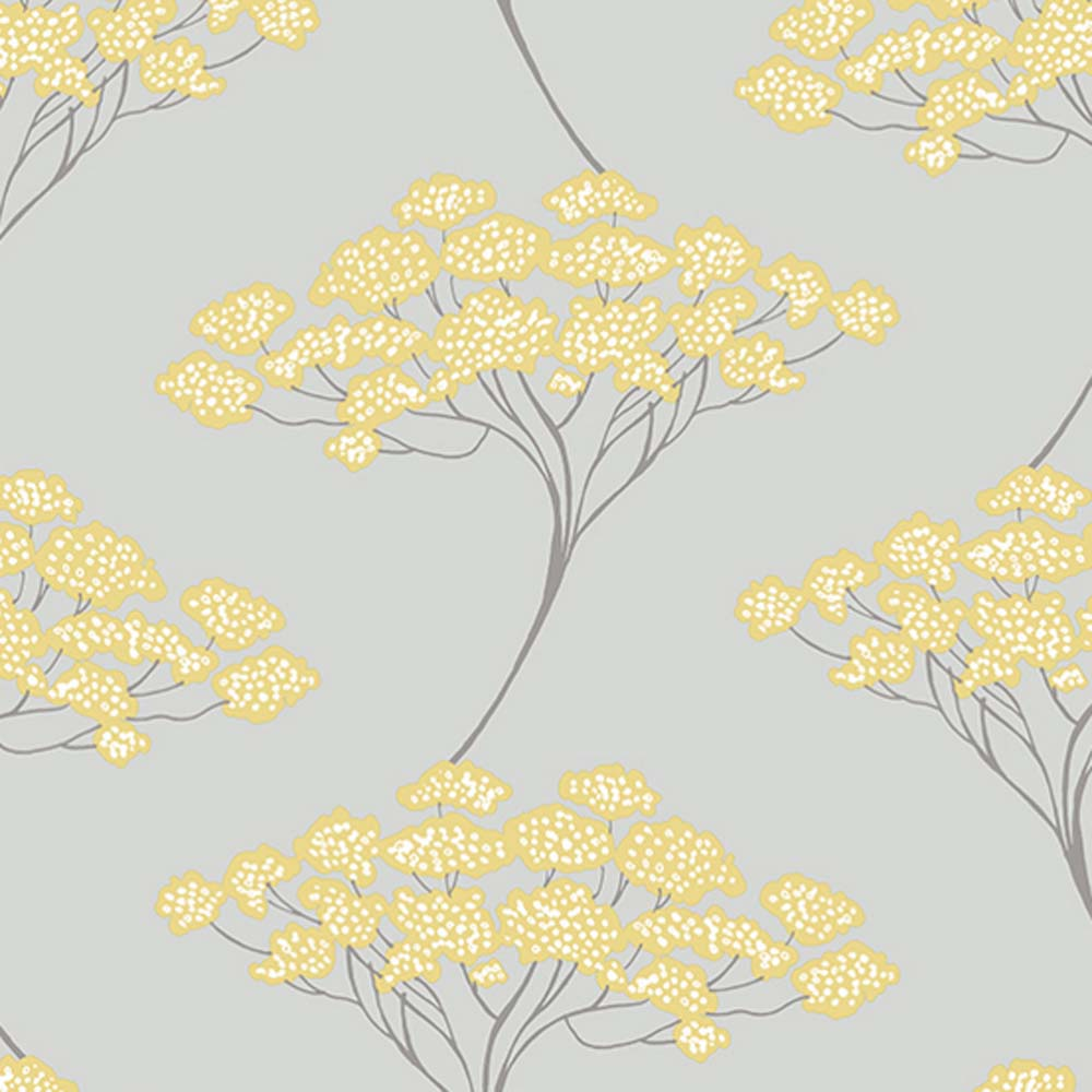 Japanese Blossom Tree| Trail Tree Trail Wallpaper in Grey & Yellow - Your 4 Walls
