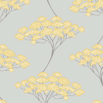 Japanese Blossom Tree| Trail Tree Trail Wallpaper in Grey & Yellow (3 x rolls for £30.00) - Your 4 Walls