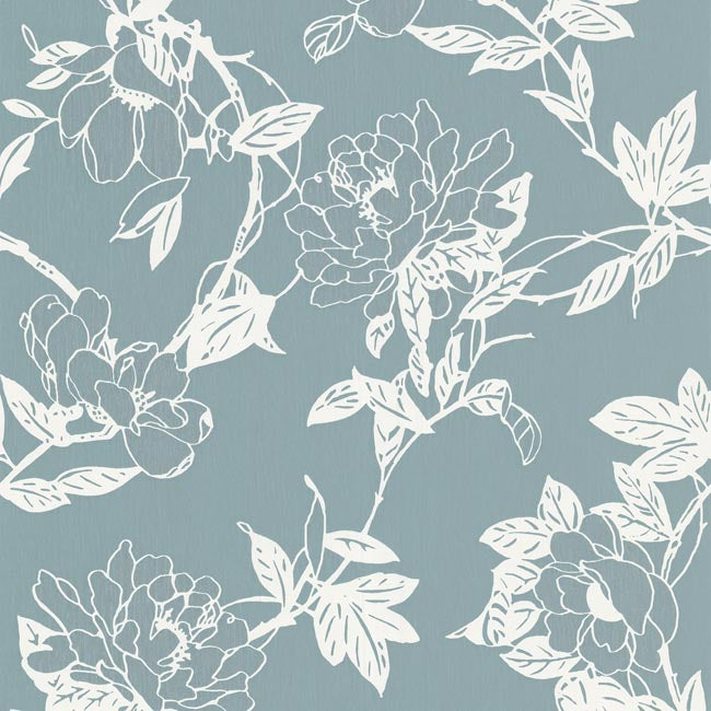 LAST ROLL Jiao Floral Wallpaper in Duck Egg and White - Your 4 Walls