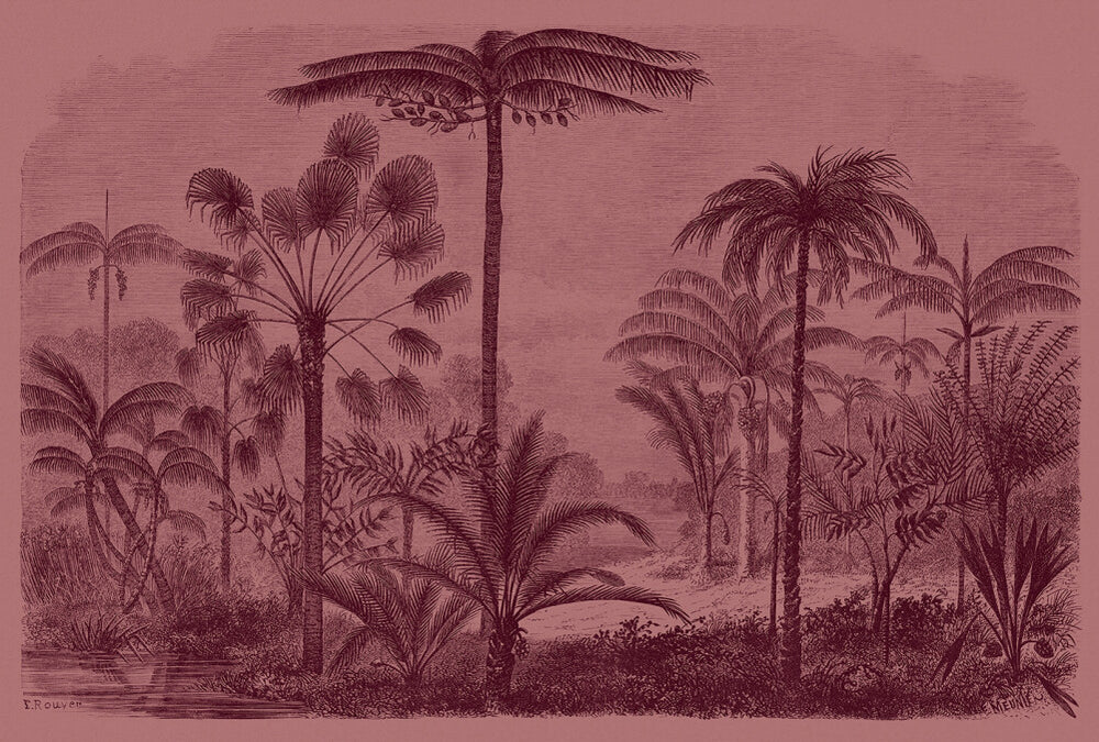 Jungalo Wallpaper Jungle Mural Pink and Charcoal - Your 4 Walls
