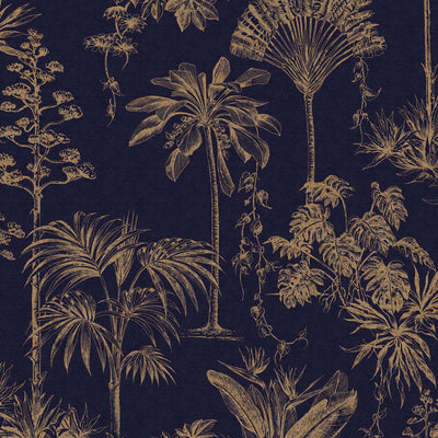 Jungle Tree Leaf Design Wallpaper | Navy Blue & Metallic Rose Gold - Your 4 Walls