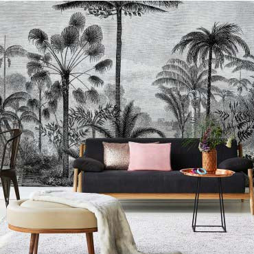 Jungalo Wallpaper Jungle Mural Black, Grey and White - Your 4 Walls