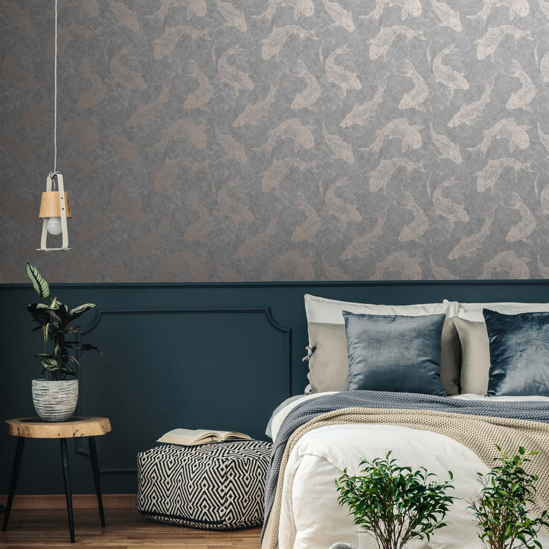 Koi Carp Fish Motif Design Wallpaper | Grey & Rose Gold - Your 4 Walls