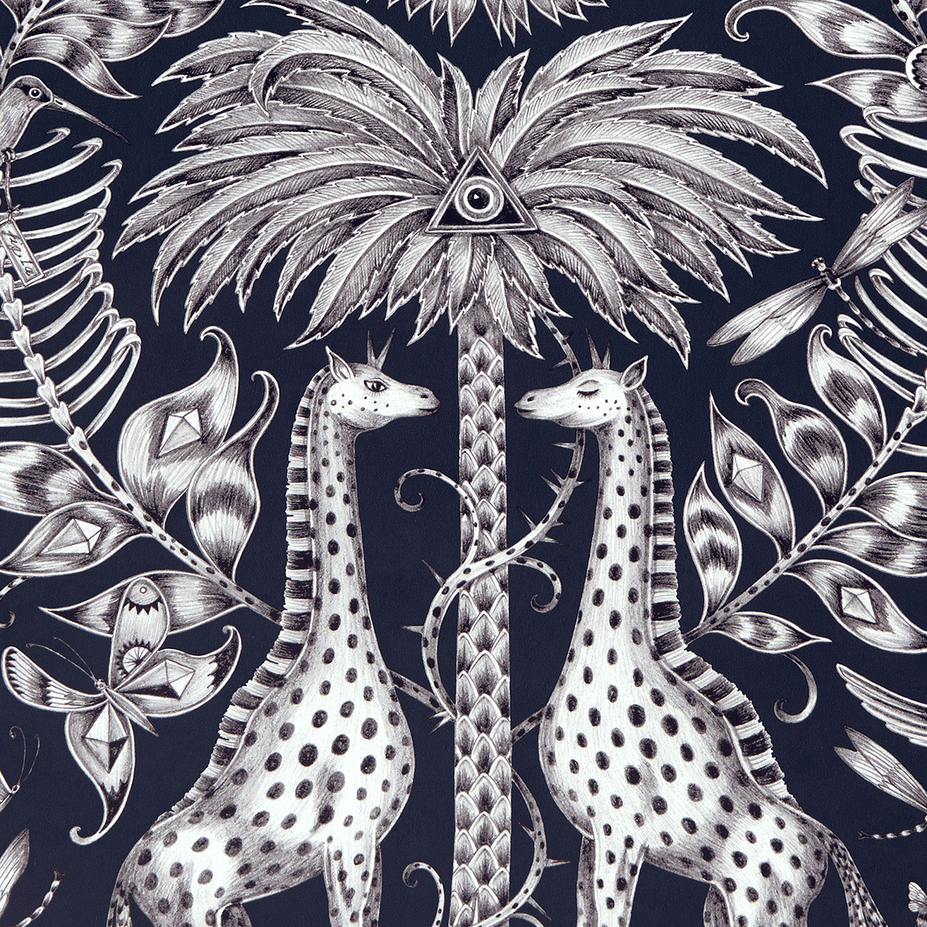 Kruger wallpaper by Designer Emma J Shipley Animalia | Navy