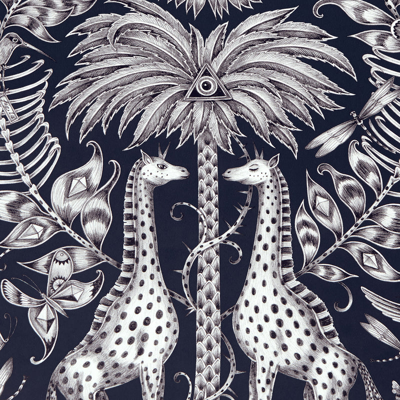 Kruger wallpaper by Designer Emma J Shipley Animalia | Navy - Your 4 Walls