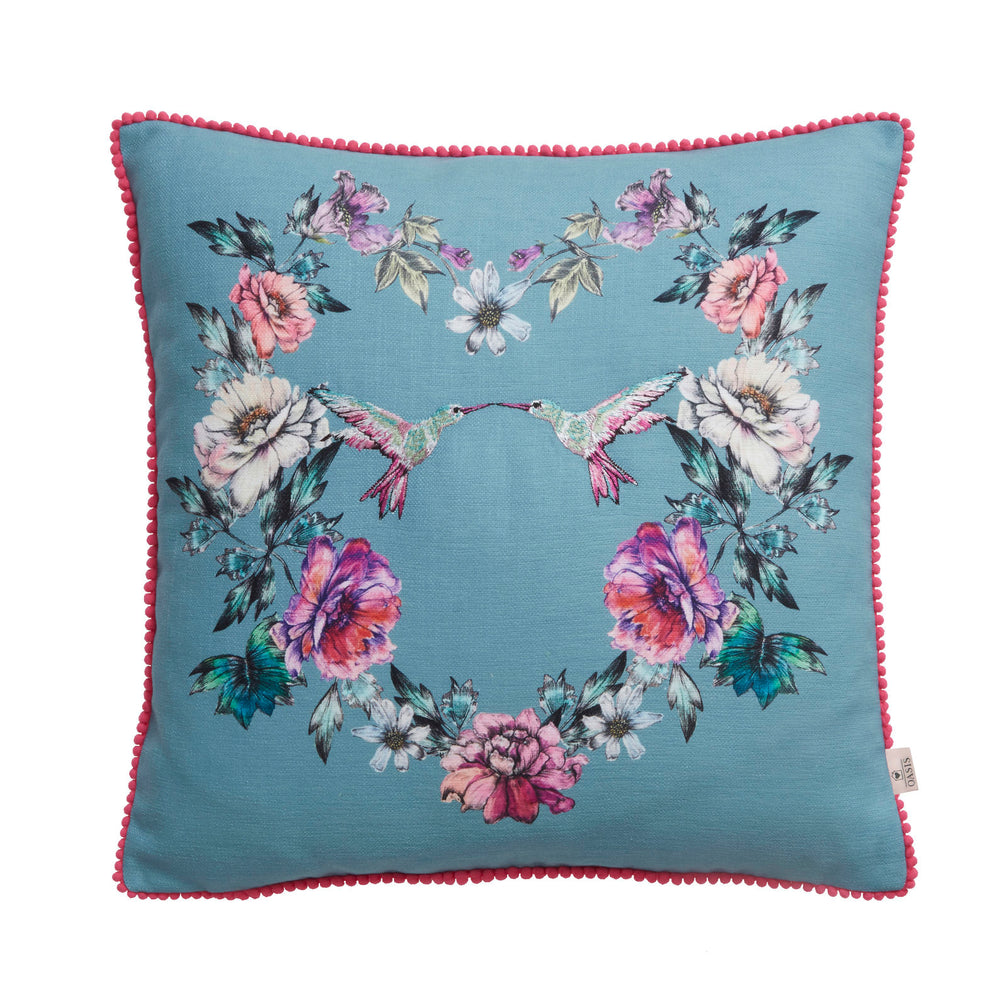Oasis Designer 'Leena' Floral & Hummingbird Cushion | Peacock Blue, Pink & Ivory - Your 4 Walls