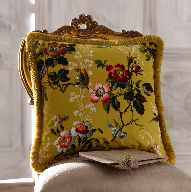 Oasis Designer 'Leighton' Cushion with Fringe Trim | Ochre, Deep Red, Pink & White Offer on 2 cushions for £40 - Your 4 Walls