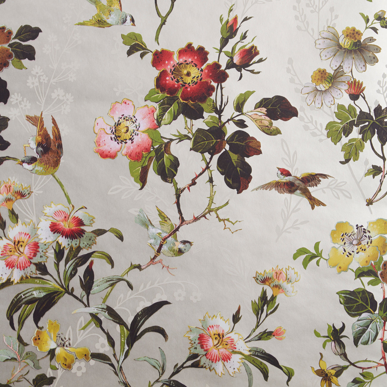 Leighton Oasis Designer Floral & Bird Wallpaper | Gold, White & Pink