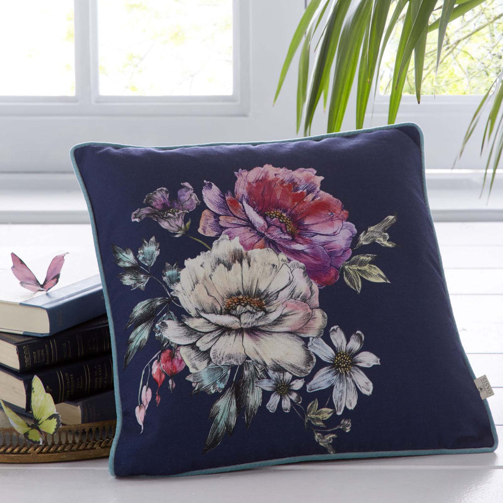 Oasis Designer 'Luna' Floral Cushion | Blue, Violet, Pink & Green - Your 4 Walls