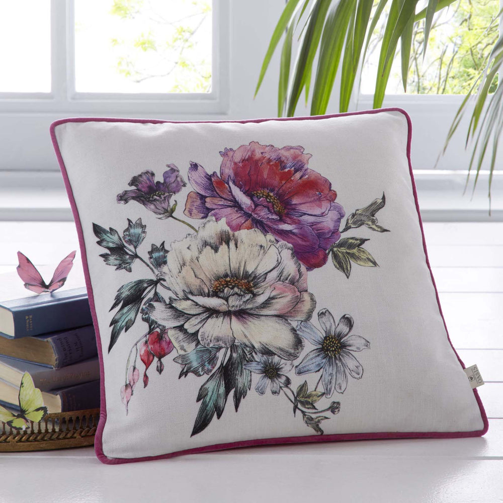 Oasis Designer 'Luna' Floral Cushion | White, Violet, Pink & Green - Your 4 Walls