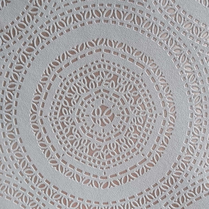 'Doily' Lace effect Wallpaper| Grey & Rose Gold