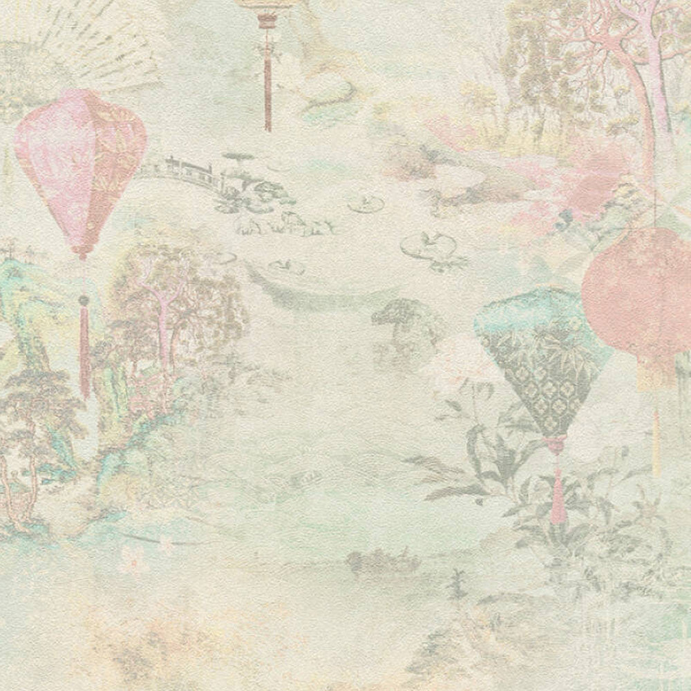 Chinese Lanterns Motif Wallpaper in Pink, Cream and Green - Your 4 Walls