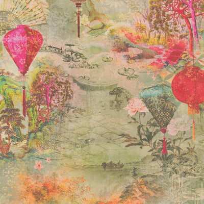 Chinese Lanterns Motif Wallpaper in Green, Red & Pink - Your 4 Walls