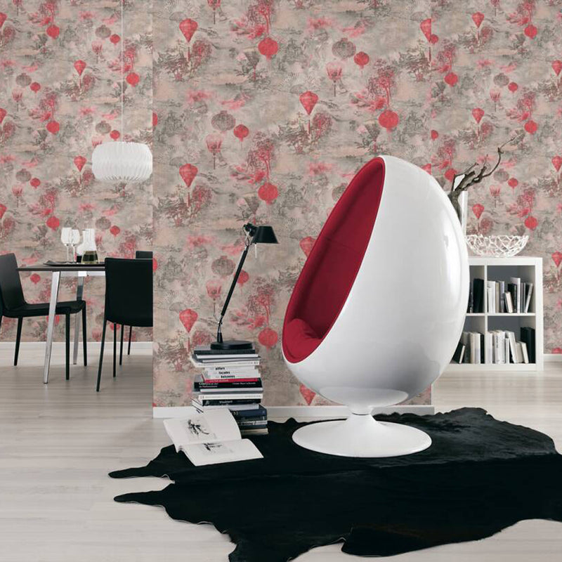 Chinese Lanterns Motif Wallpaper in Red, Pink & Black - Your 4 Walls