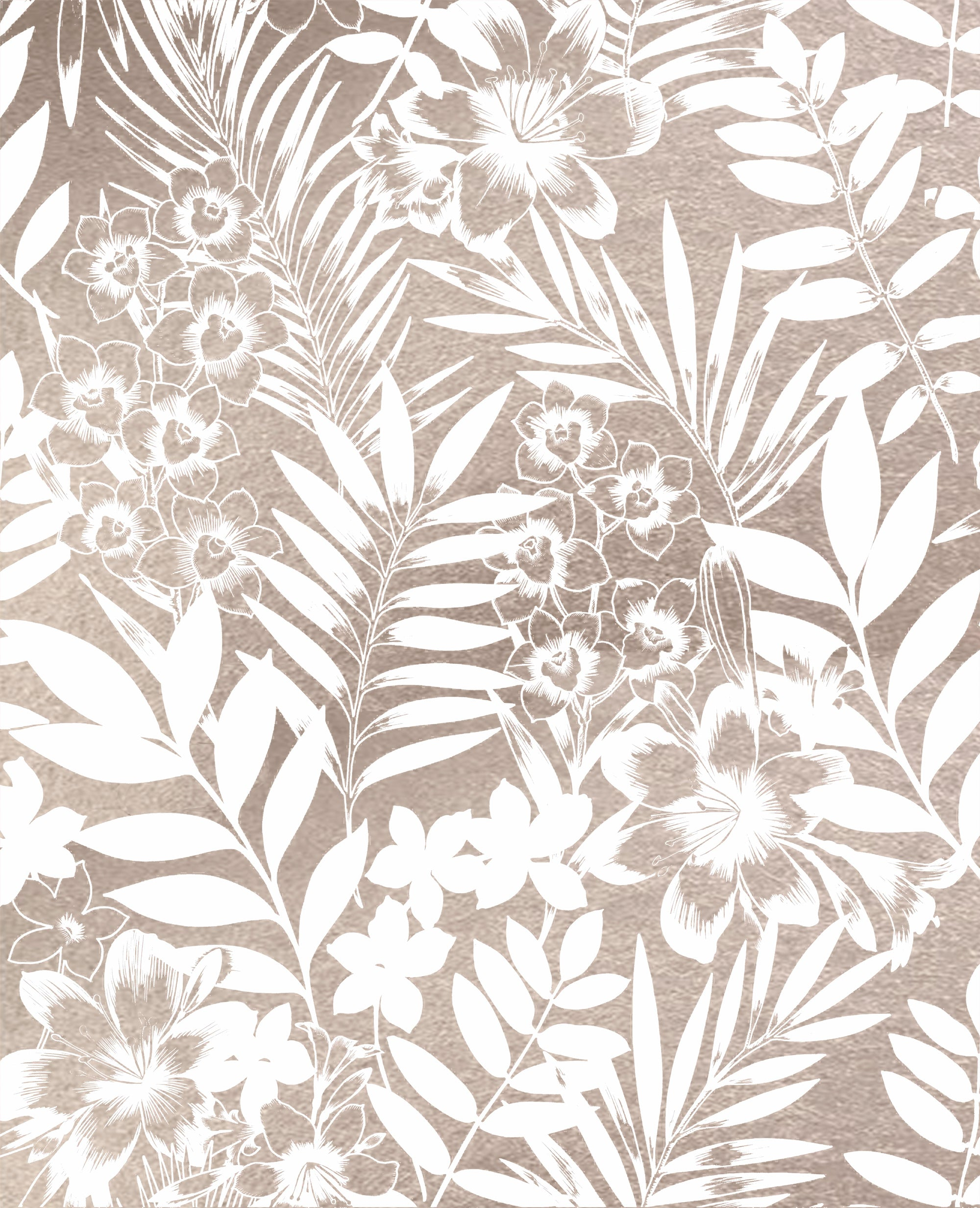Leaf and Flower Floral Trail | Metallic Rose Gold & Matte White Wallpaper